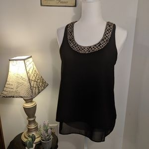Topshop Open Back Jeweled Tank Top